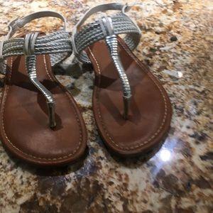 Girls white/silver sandals. Size 4